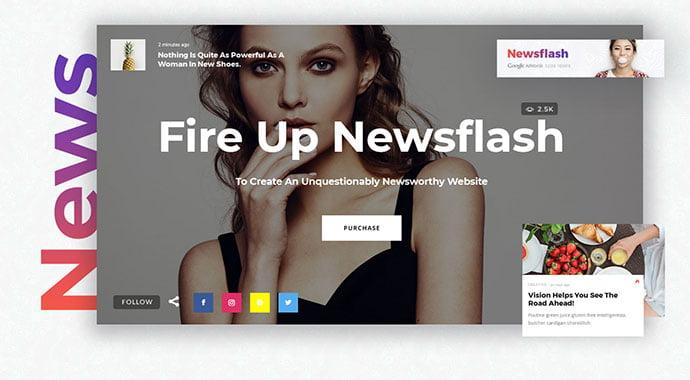 Newsflash - 31+ Impressive Big Fonts & Bright Colors WordPress Themes [year]