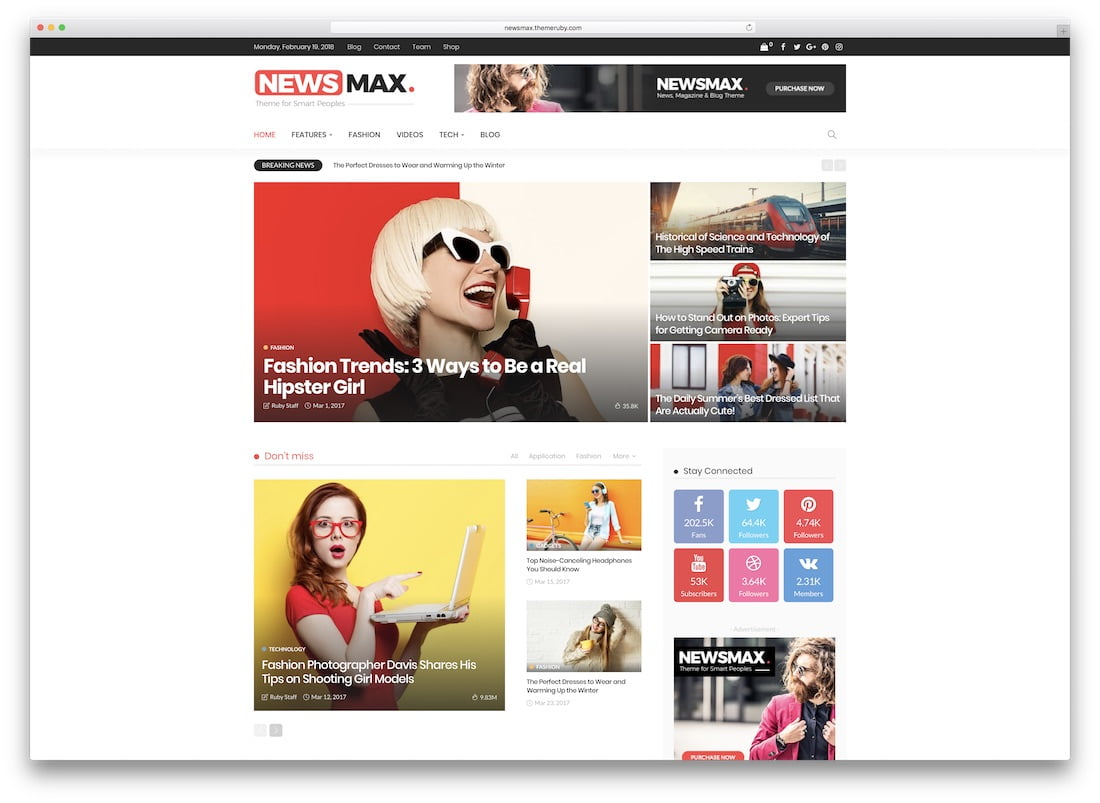 Newsmax - 34+ Awesome Mobile First Free & Premium AMP Themes [year]