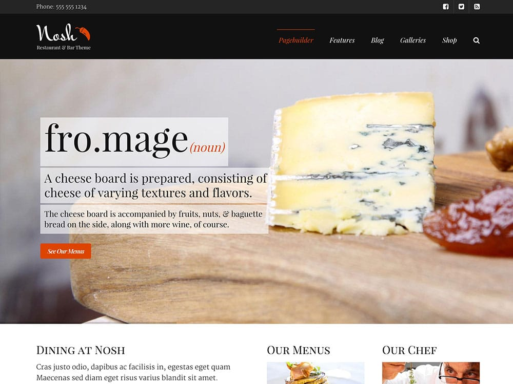 Nosh - 51+ Best Restaurant WordPress Themes [year]