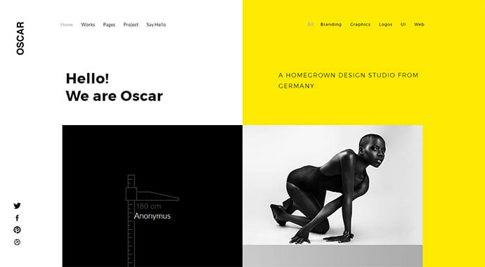 OSCAR - 31+ Impressive Big Fonts & Bright Colors WordPress Themes [year]