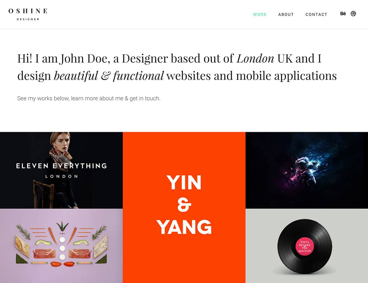 Oshine - 31+ Best Freelancers WordPress Themes [year]