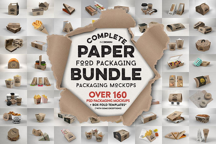 Paper-Food-Packaging-Mockup-Bundle - 60+ Delicious Food Packaging PSD Mockup Design Templates [year]