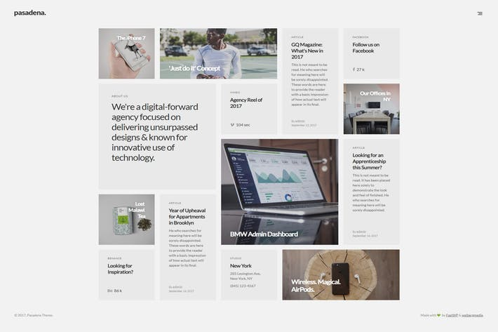 Pasadena - 50+ Best Portfolio WordPress Theme Design [year]