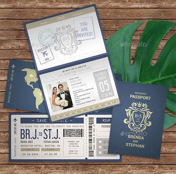 Passport-Wedding-Invitation - 30+ Awesome Wedding Invitation Ticket Templates