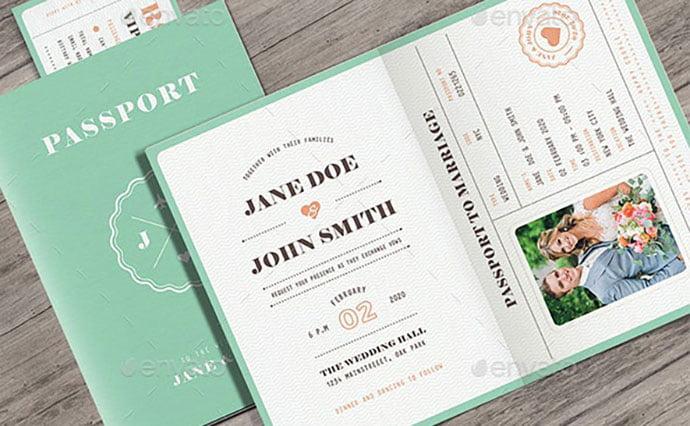 Pastel-Passport-Wedding-Invitation - 30+ Awesome Wedding Invitation Ticket Templates