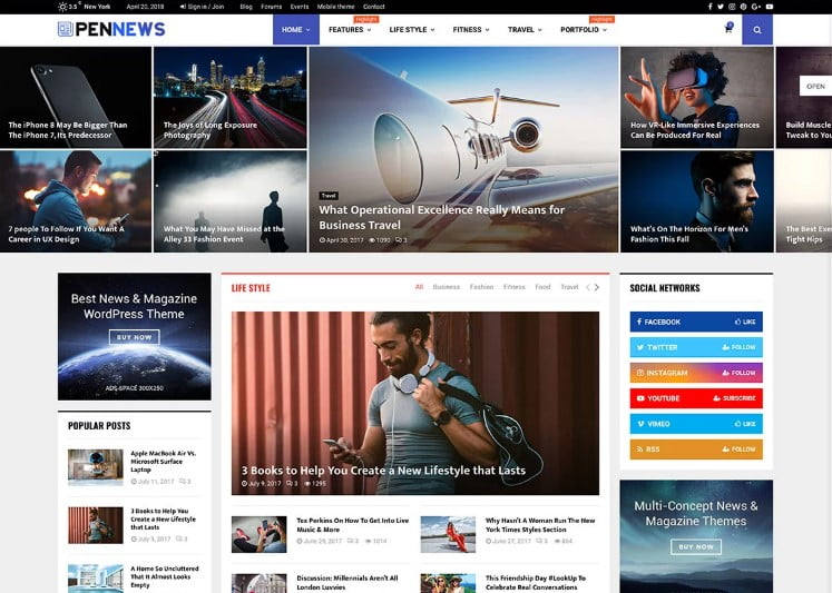 PenNews - 34+ Awesome Mobile First Free & Premium AMP Themes [year]