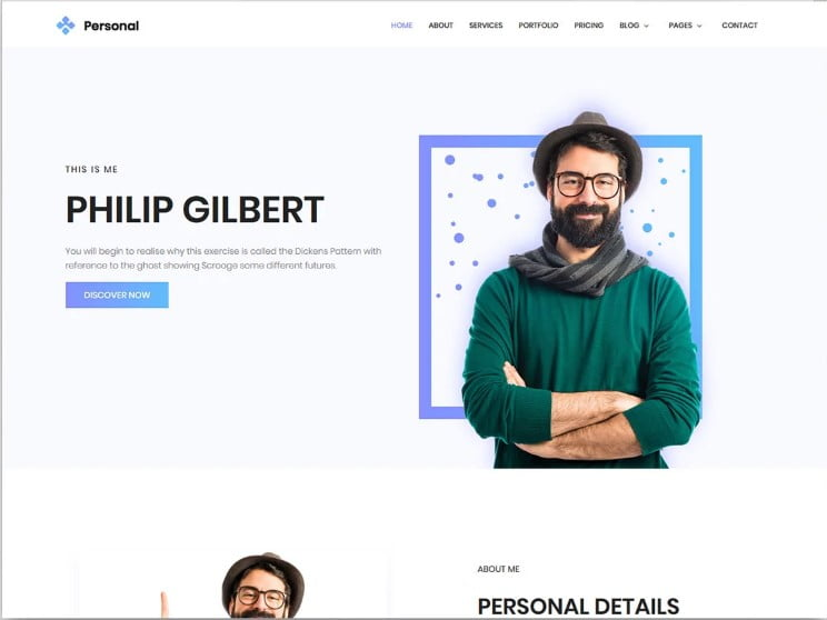 Personal - 77+ Best Free HTML & CSS Clean Simple Website Templates [year]