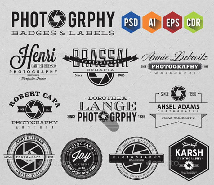 Photography-Badges-Labels - 31+ Awesome Watermark Photographer Logo Templates [year]