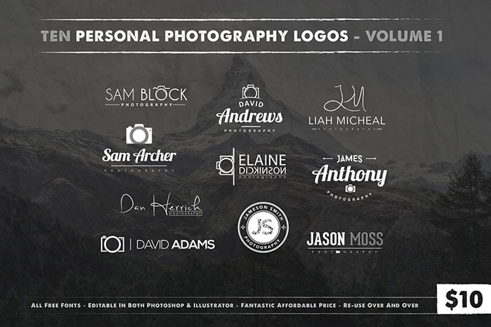 Photography-Logos-Vol-1 - 31+ Awesome Watermark Photographer Logo Templates [year]