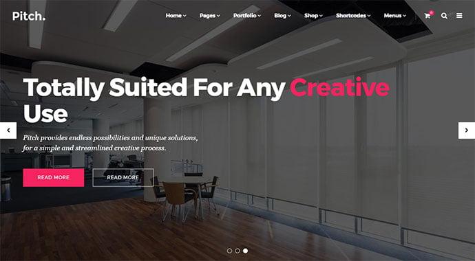Pitch-2 - 30+ Fullscreen Slider Portfolio WordPress Themes [year]