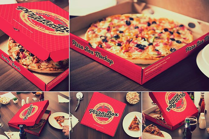Pizza - 60+ Delicious Food Packaging PSD Mockup Design Templates [year]