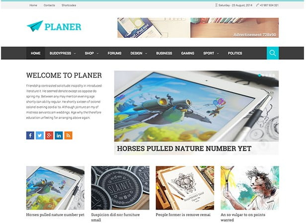Planer - 31+ Top WordPress Themes For Best Adsense Optimized [year]
