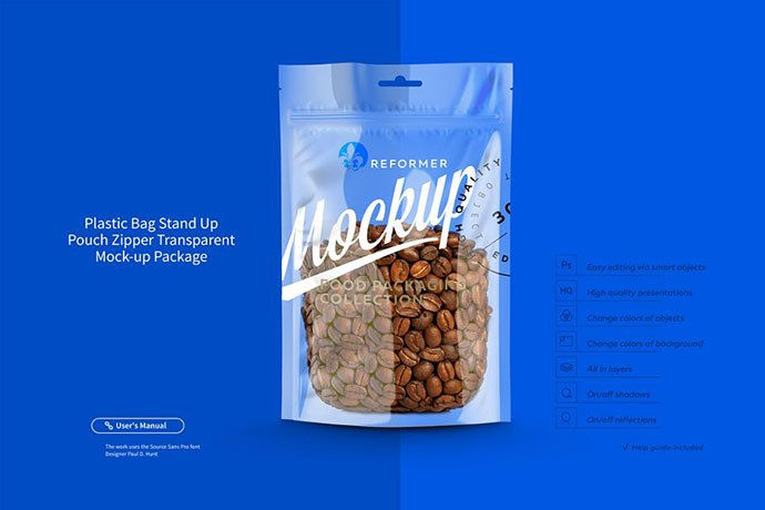 Plastic-Bag-Transparent-PouchZipper - 60+ Delicious Food Packaging PSD Mockup Design Templates [year]