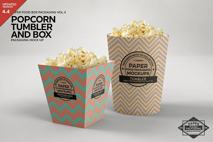 Popcorn-Containers - 60+ Delicious Food Packaging PSD Mockup Design Templates [year]