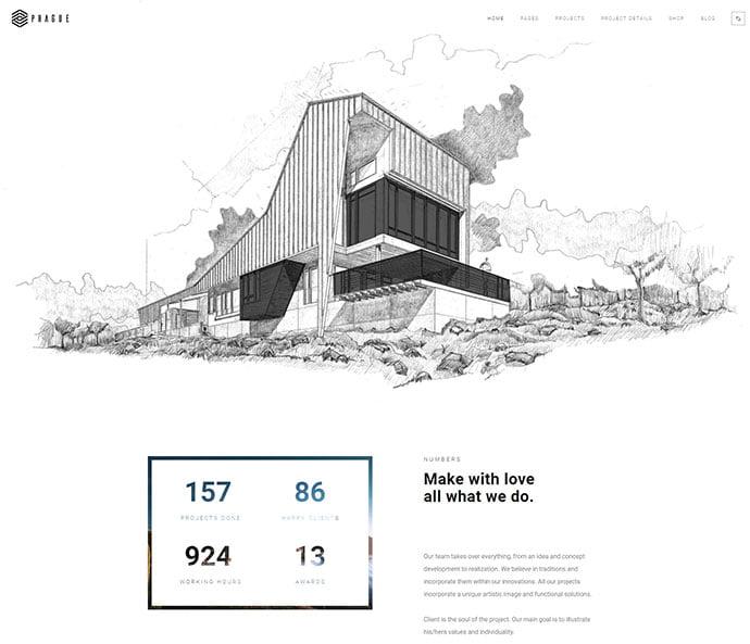 Prague - 36+ Amazing WordPress Themes For Architect Portfolio [year]