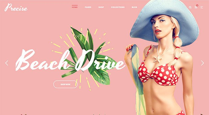 Precise - 31+ Impressive Big Fonts & Bright Colors WordPress Themes [year]
