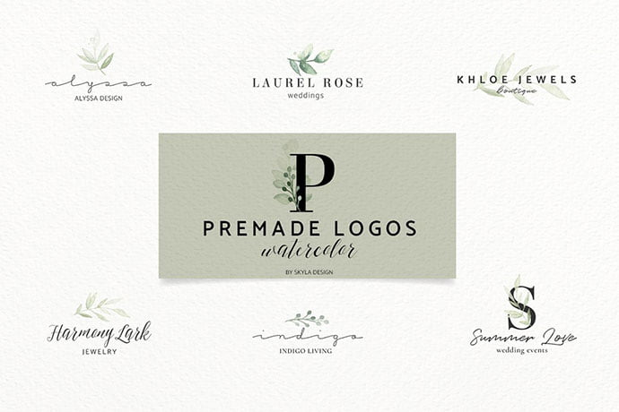 Premade-Logos-watercolor-greenery - 35+ Lovely Watercolor Logo Designs [year]