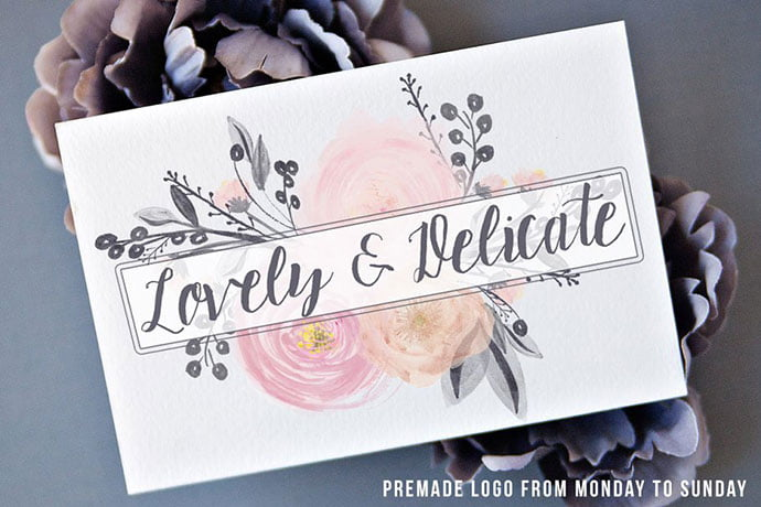 Premade - 35+ Lovely Watercolor Logo Designs [year]