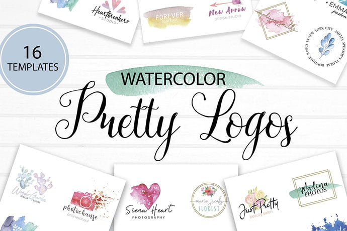 Pretty-Watercolor-2 - 35+ Lovely Watercolor Logo Designs [year]