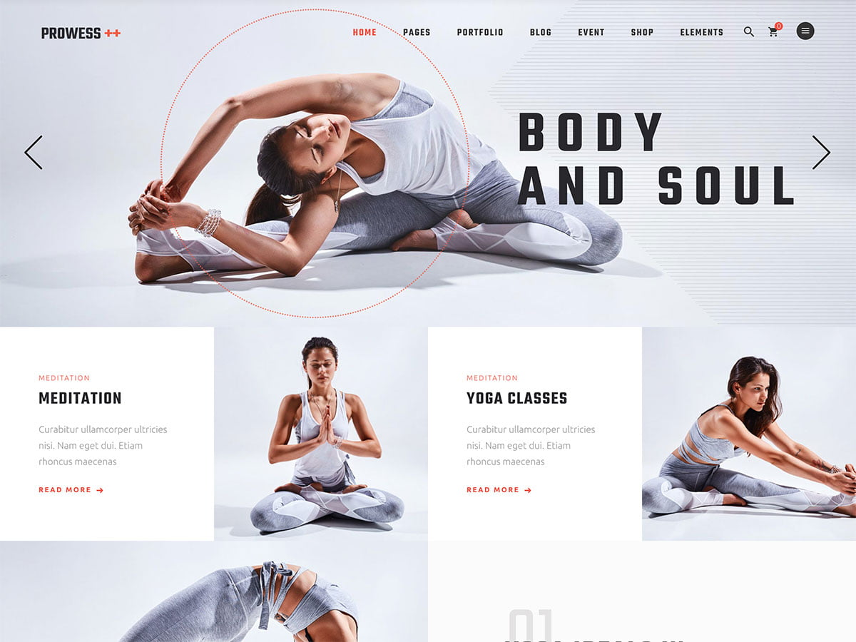 Prowess - 32+ Best WordPress Themes For Yoga [year]