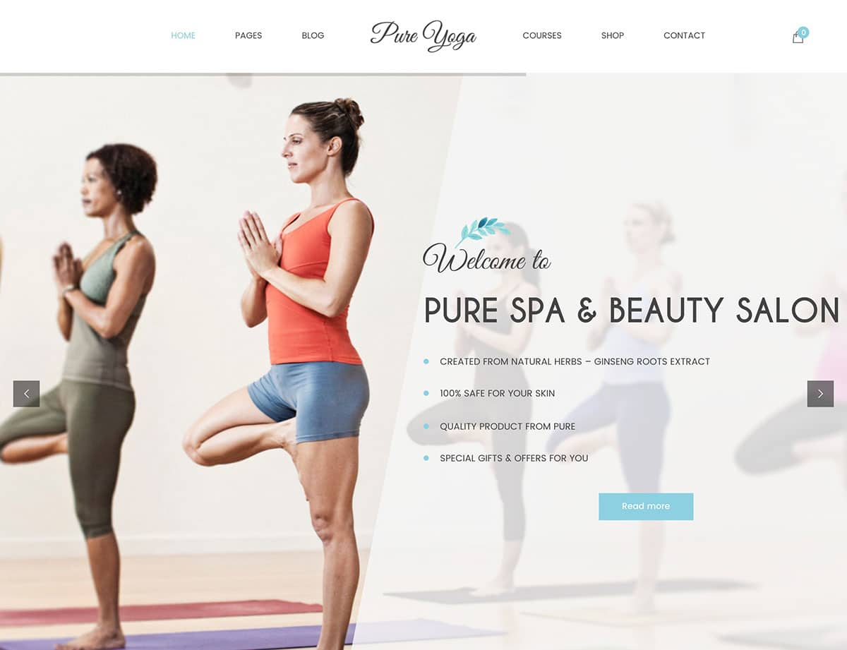 Pure - 32+ Best WordPress Themes For Yoga [year]