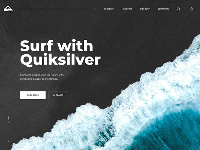 Quiksilver-Surfing - 46+ Free Inspiration of Travel Web UI Designs [year]