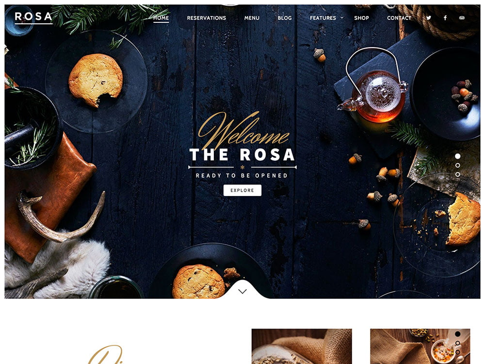 ROSA - 51+ Best Restaurant WordPress Themes [year]