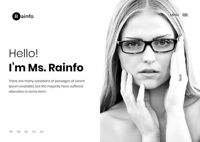 Rainfo - 35+ Awesome Twitter Bootstrap Portfolio Site Templates