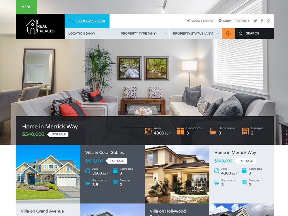 RealPlaces - 36+ Best WordPress Real Estate Themes [year]