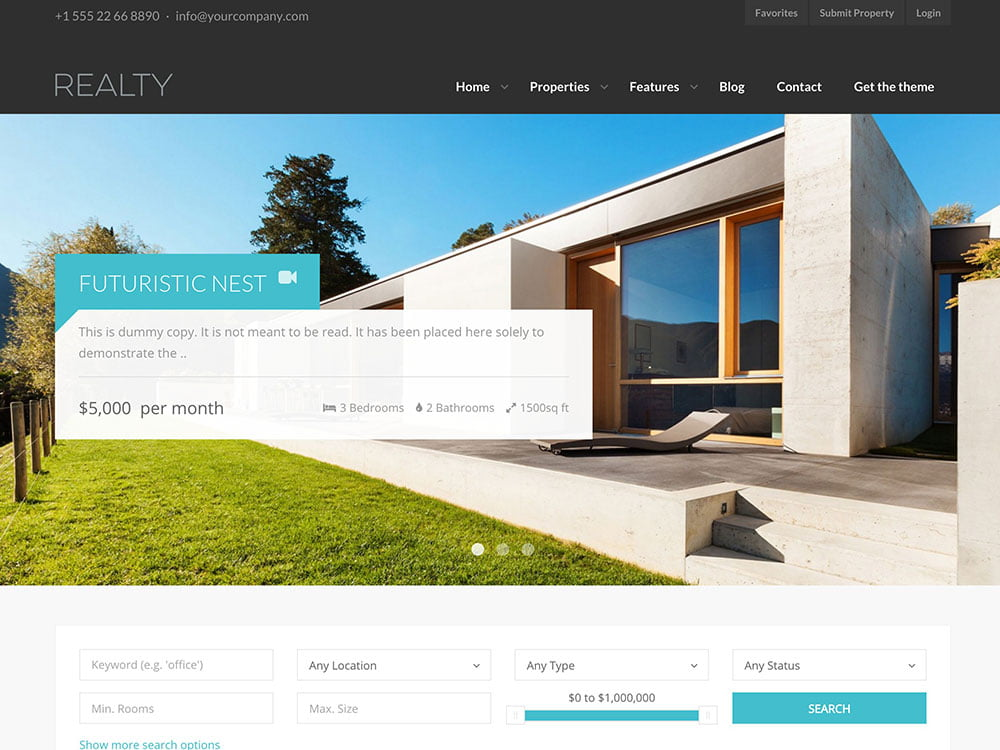 Realty - 36+ Best WordPress Real Estate Themes [year]
