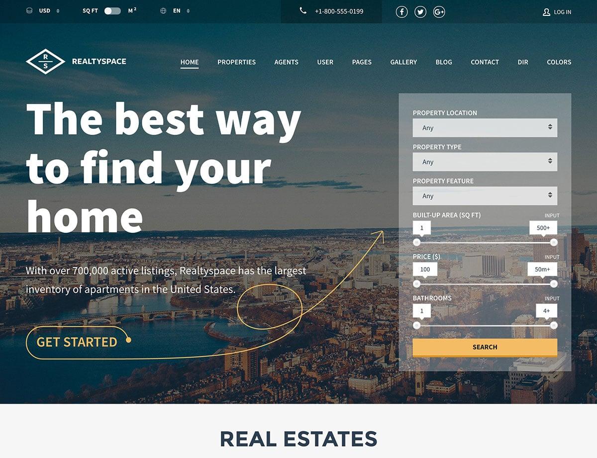 Realtyspace - 36+ Best WordPress Real Estate Themes [year]