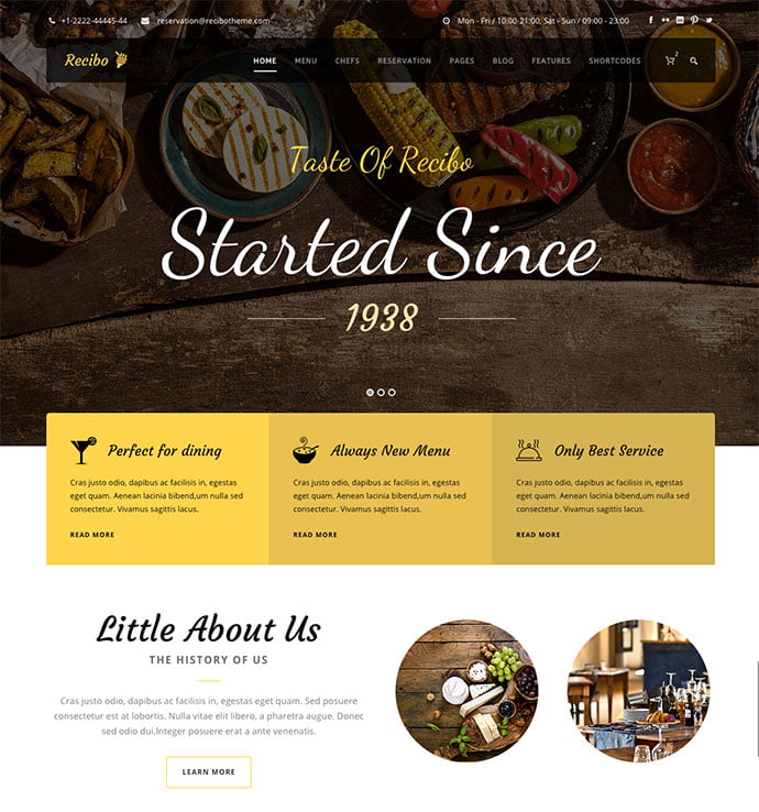 Recibo - 36+ Delicious Cooking Idea Share WordPress Themes [year]