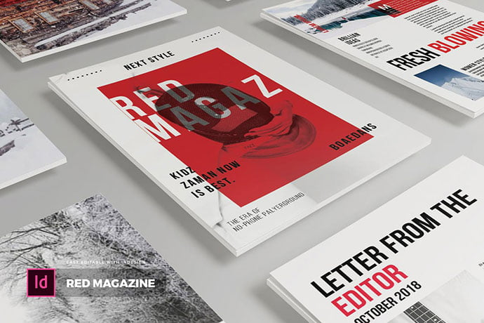 Red - 50+ Awesome Interior Magazine InDesign Templates [year]