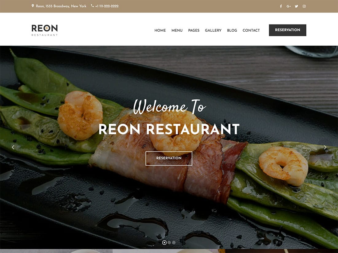 Reon - 51+ Best Restaurant WordPress Themes [year]