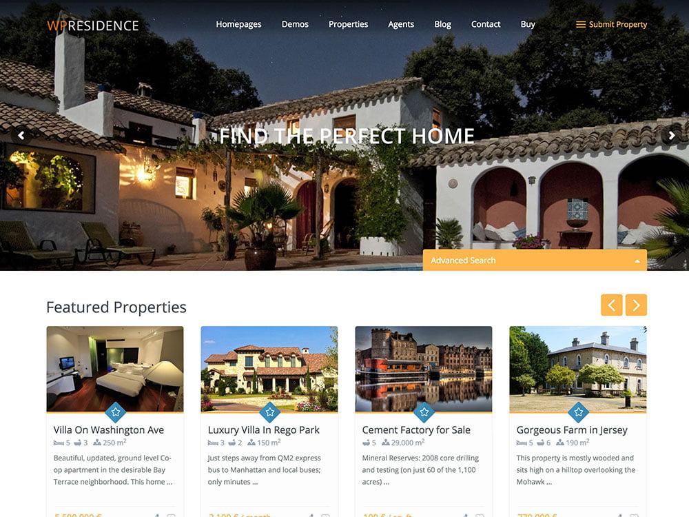 Residence - 36+ Best WordPress Real Estate Themes [year]