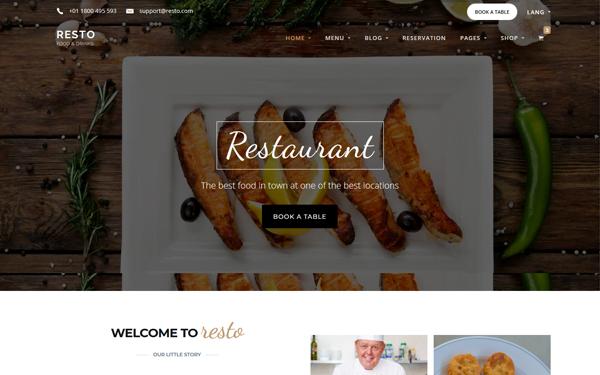 Resto - 41+ Stunning Restaurant Website HTML5 Templates [year]