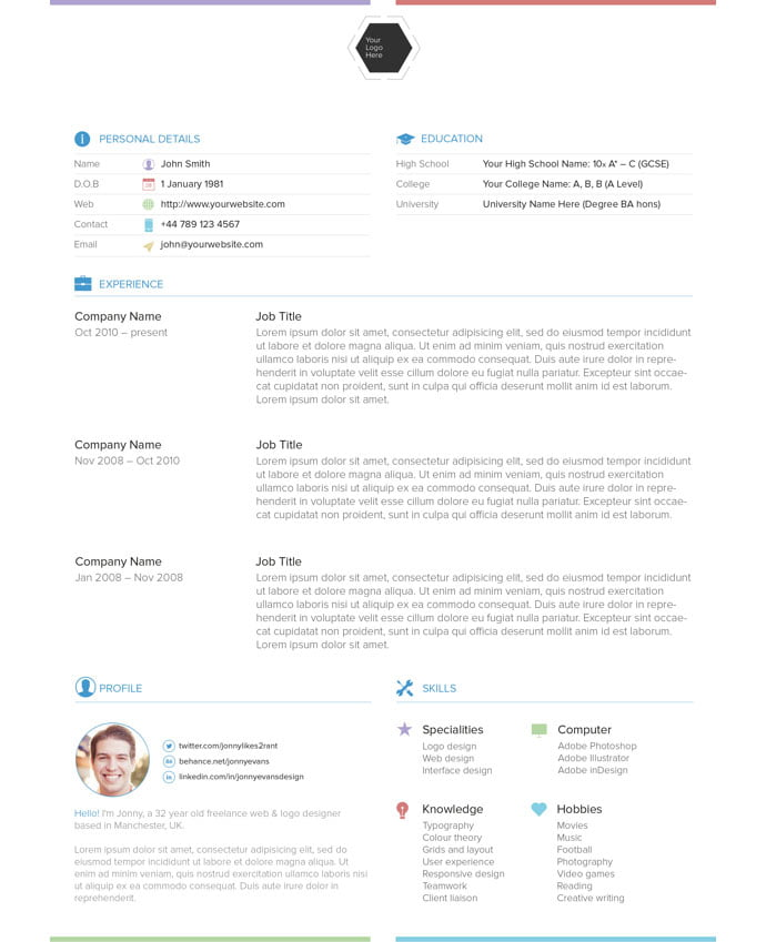 Resume-template - 41+ Free HTML PSD & InDesign CV Resume Templates [year]