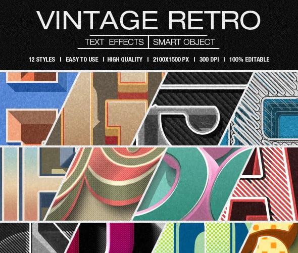 Retro-Vintage-Text-Effects - 50+ Fantastic BEST FREE Typographic Logo Badge Designs