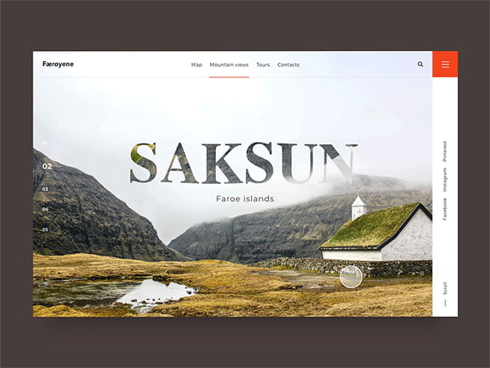 Saksun-Header-Transition - 46+ Free Inspiration of Travel Web UI Designs [year]