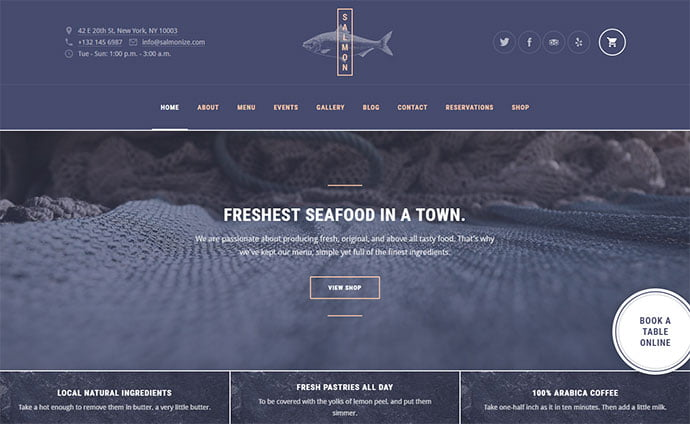 Salmon - 30+ Excellent E-commerce WordPress Themes For Food & Drink [year]