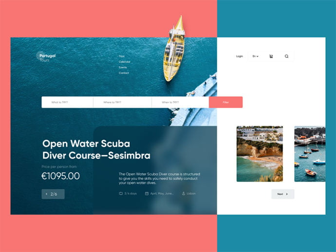 Scuba-Diving-Course-Landing-Page - 46+ Free Inspiration of Travel Web UI Designs [year]