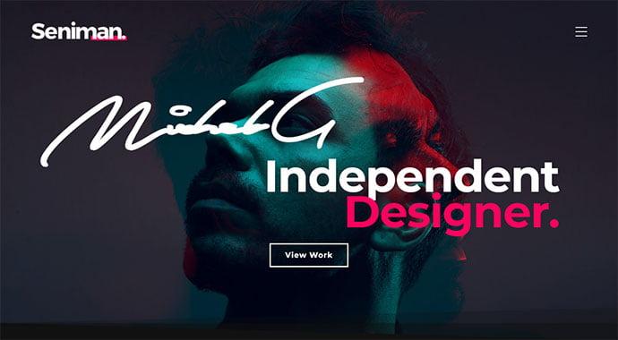 Seniman-1 - 31+ Impressive Big Fonts & Bright Colors WordPress Themes [year]