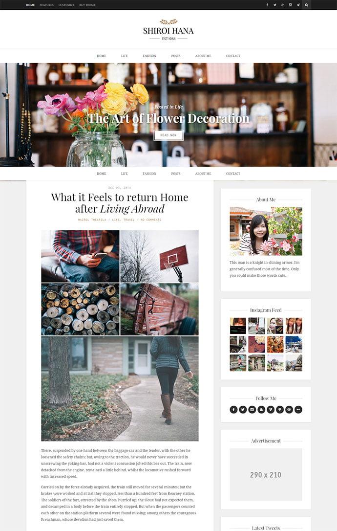 Shiroi-Hana - 45+ Magazine & Blog WordPress Themes To Make Your Website [year]