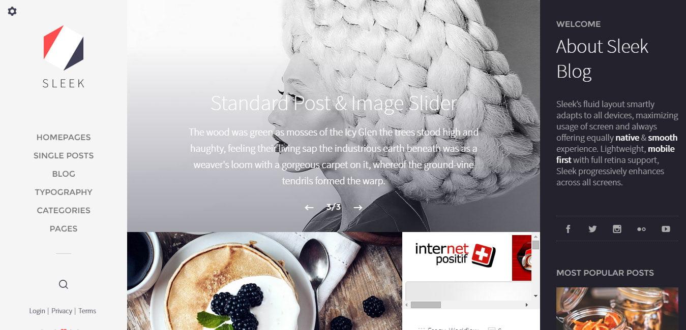 Sleek - 45+ Magazine & Blog WordPress Themes To Make Your Website [year]