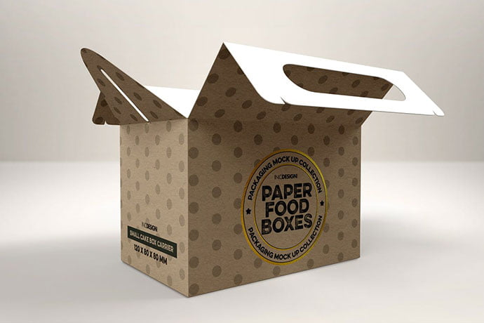 Small-Cake-Box-Carrier - 60+ Delicious Food Packaging PSD Mockup Design Templates [year]