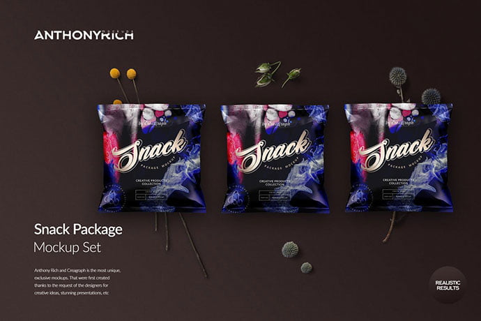 Snack - 60+ Delicious Food Packaging PSD Mockup Design Templates [year]