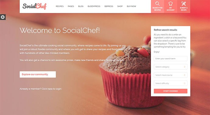SocialChef - 36+ Delicious Cooking Idea Share WordPress Themes [year]