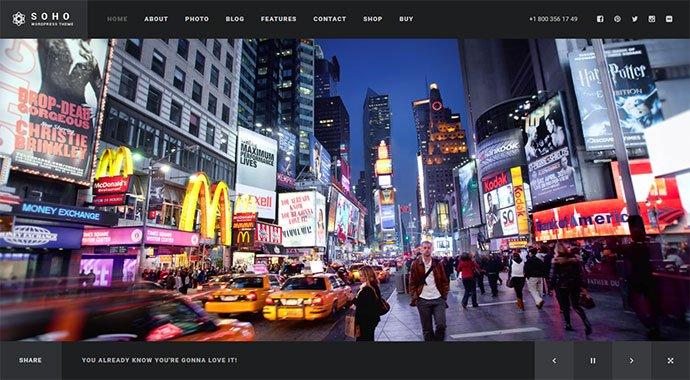 Soho - 30+ Fullscreen Slider Portfolio WordPress Themes [year]