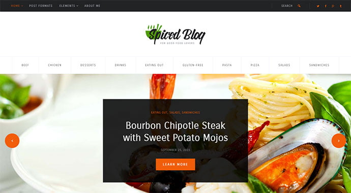 Spiced-Blog - 36+ Delicious Cooking Idea Share WordPress Themes [year]