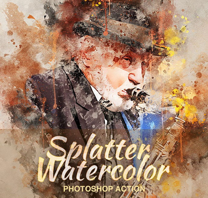 Splatter-Watercolor - 30+ Awesome Splatter Painting Effect Photoshop Actions [year]